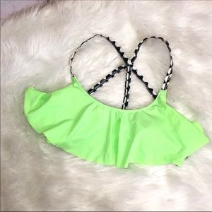 PINK Green  Bikini Top With Strappy Straps Size L